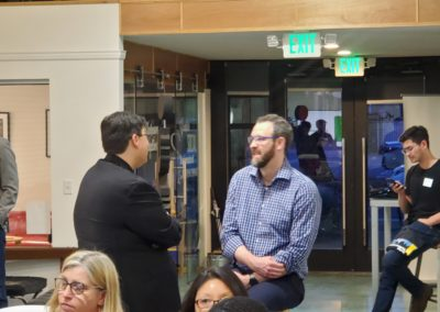 Smud director Brandon Rose talks with Prof Toups CSUS Engineering